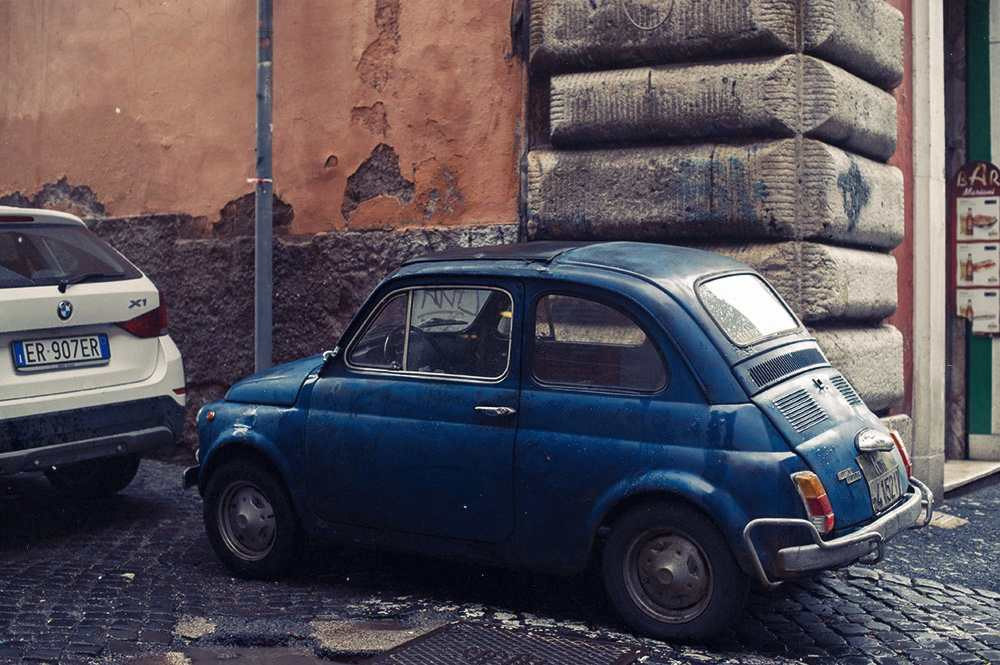 rome, italy, blue, red, city, typography, fiat 500, old, car