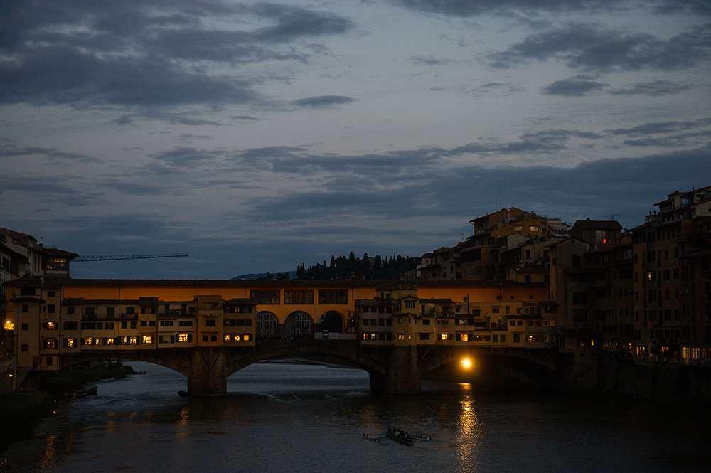 ponte vecchio, bridge, arno, florence, river, italy, sunset, blue hour