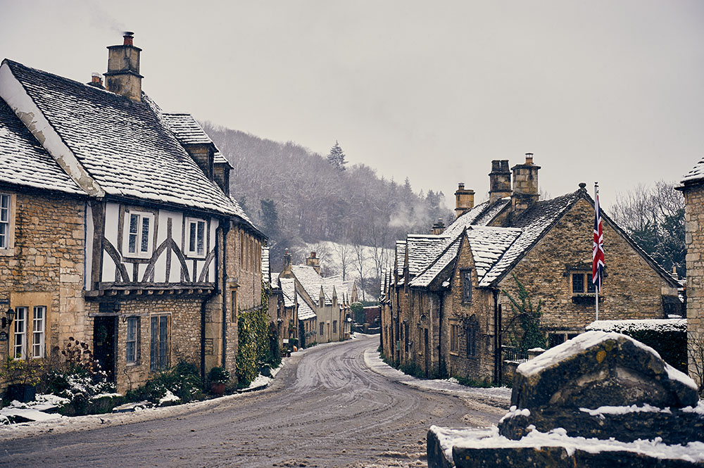 castle combe, cotswolds, england, uk, great britain, winter wonderland, winter, snow, village, cottage, snow