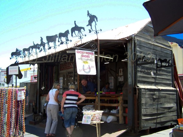 This stall is portable, mounted on a trailer, it it just sort of folded out to look like this. It had horse supplies as well as lovely iron and tin country artwork.