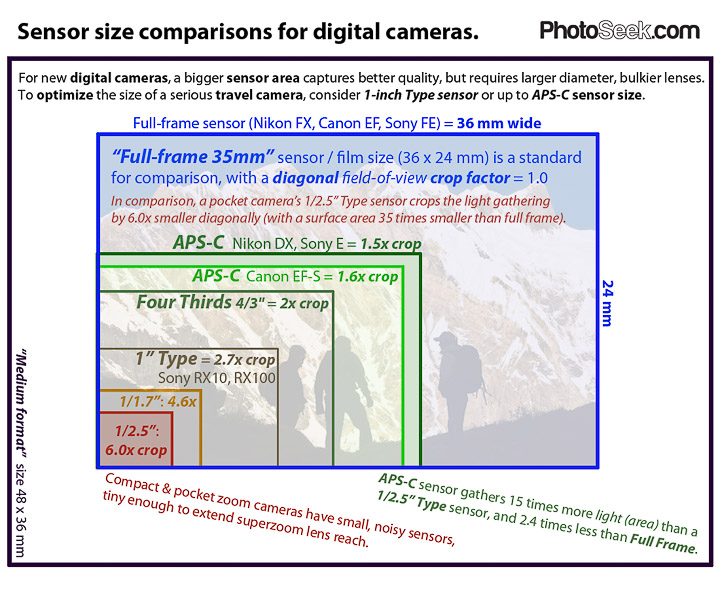"Compare digital camera sensor sizes: 1""-Type, 4/3, APS-C, full frame 35mm"