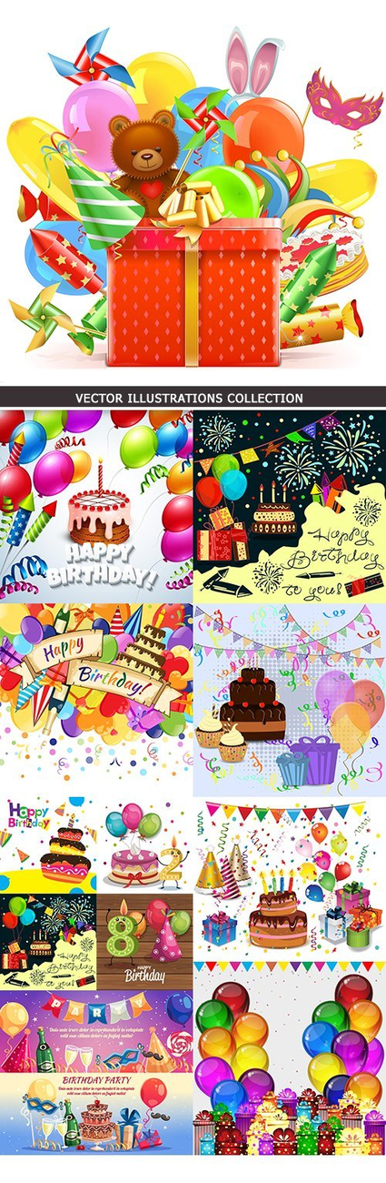 Happy birthday holiday invitation balloons and gifts 15 ...