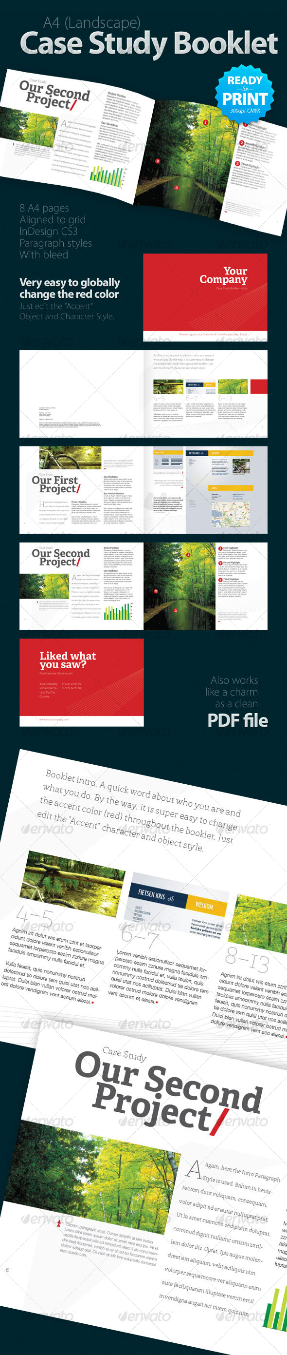 A4 case study booklet indesign project