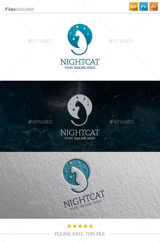 Night cat logo template