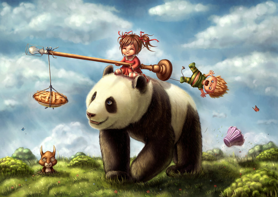 drawings and paintings kids children panda