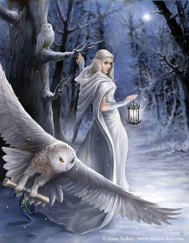 white witch sends an urgent message by owl through the forest at midnight