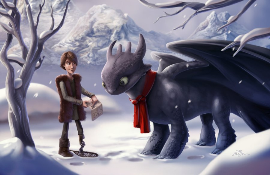 Created in Adobe Photoshop CS4. Toothless, Hiccup and How To Train Your Dragon are © Dreamworks.