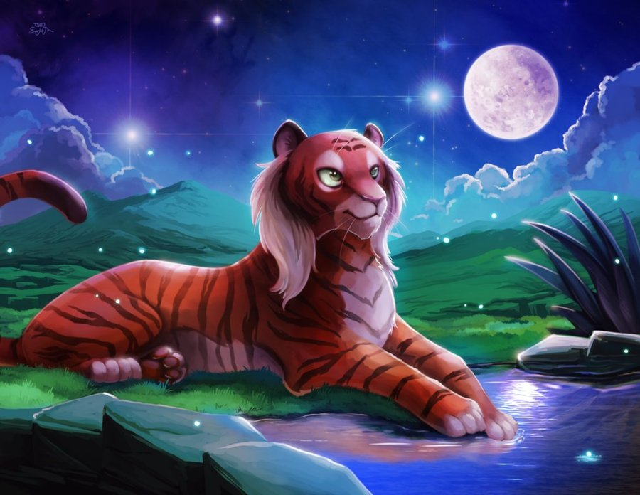 tiger in the night moon light
