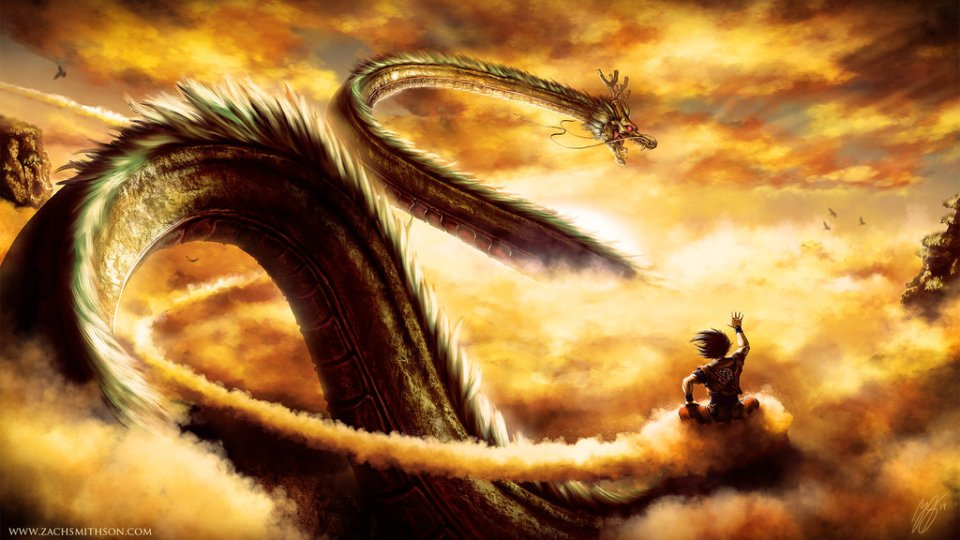 Dragonball Z art golden boy flying clouds skies sky