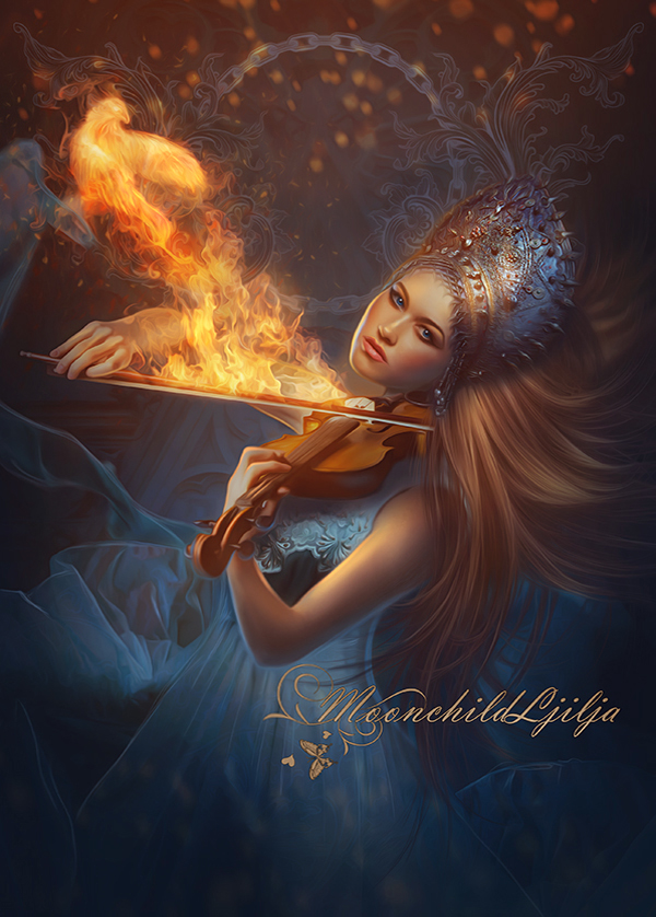 phoenix moonchild ljilja bird fantasy fire violin girl