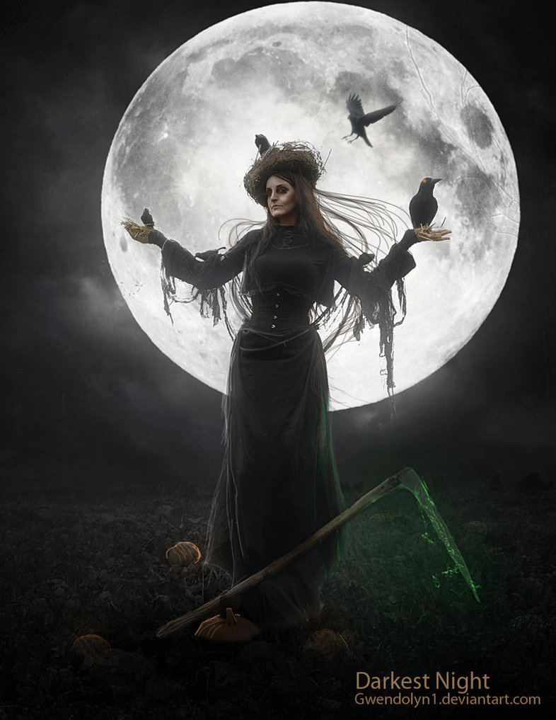 witch Halloween crow moon night creepy poster