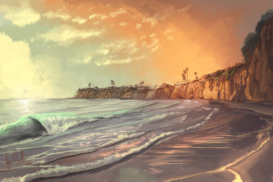 beach landscape digital painting