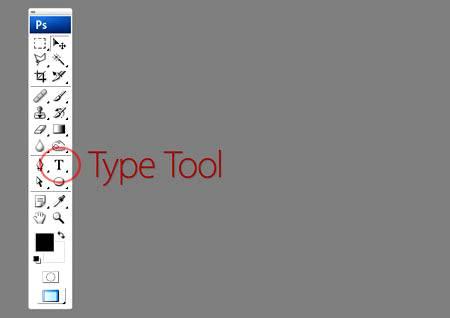"""Placering """"Type Tool"""" (Tekstværktøj) på eksemplet på Photoshop CS4"""