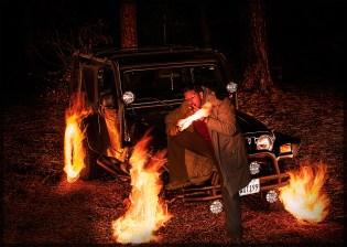 Burning Jeep