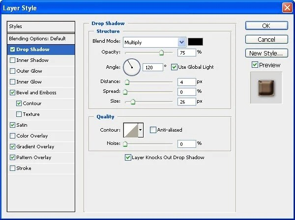 7 Drop Shadow Tool settings