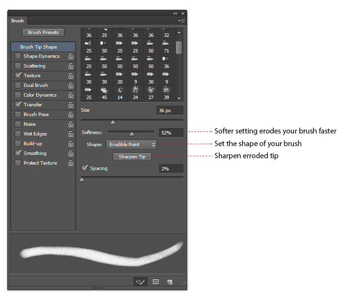 Erodible tip settings in the Brushes palette