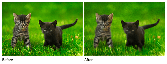 Before and after comparison of the Oil Paint filter