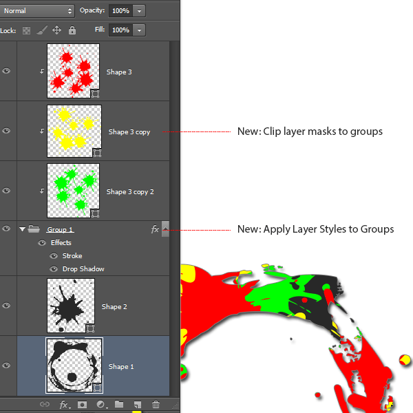 Applying clipping masks and layer styles to groups