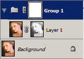 Adding an additional layer mask using a group.