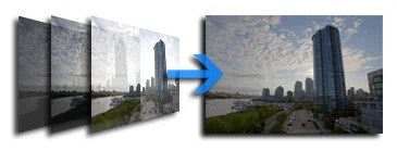 Three 8-bit images with different exposures tone mapped into a single 8-bit image with greater detail.