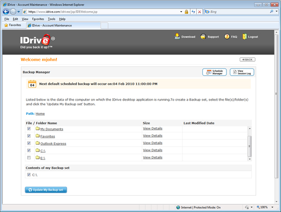 Web Browser File Backup