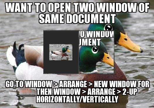 Want to open two window of the same document? Go to window > arrange > New window for _____ then Window > Arrange > 2-Up Horizontally/vertically