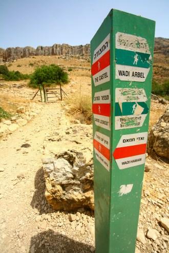 Wegweiser am Beginn des Wanderwegs zum Gipfel des Mount Arbel in Tiberias, Israel. Juli 2017 // Sign with directions at the beginning of the Mount Arbel trail in Tiberias, Israel. July 2017