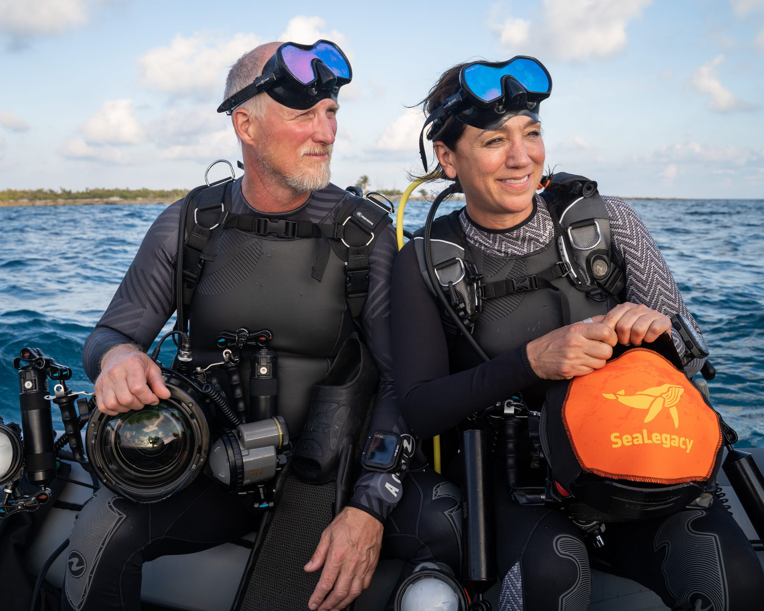 Aqua Lung global ocean ambassador and SeaLegacy co-founder, Paul Nicklen with co-founder and President of SeaLegacy, Cristina Mittermeier. Photo credit: Joe Leahy