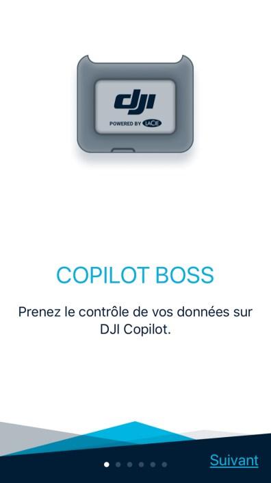 Le splashscreen de l'application Copilot BOSS