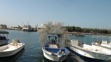 Fishing boats with nets