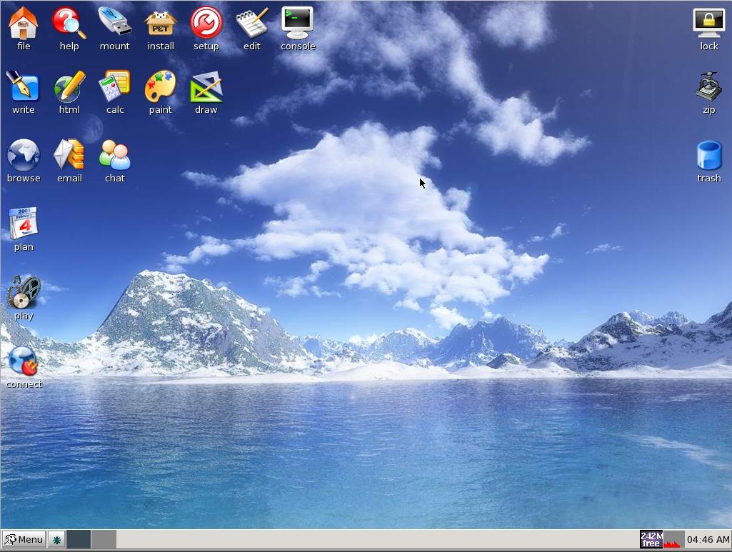 """Puppy Linux 4.1 """"Dingo"""" desktop"""