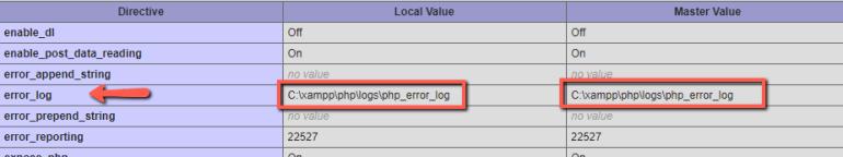 error log path