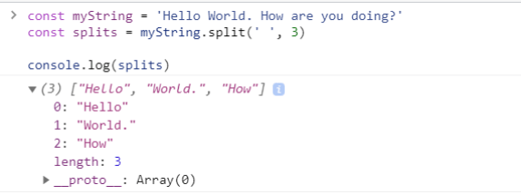 The output of limit parameter in split JavaScript function