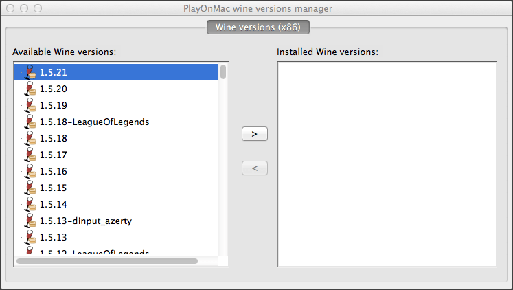 Select the latest version of Wine