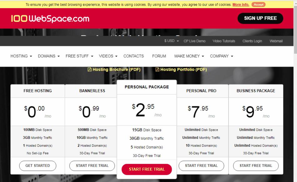 100WebSpace Free WordPress Hosting