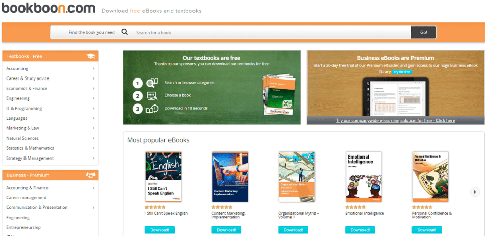 Bookboon for variety of books