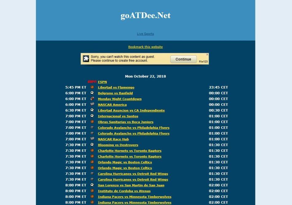 Goatdee Free Sports Streaming Sites