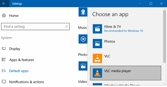 set VLC media player as Default Media Player in Windows 10
