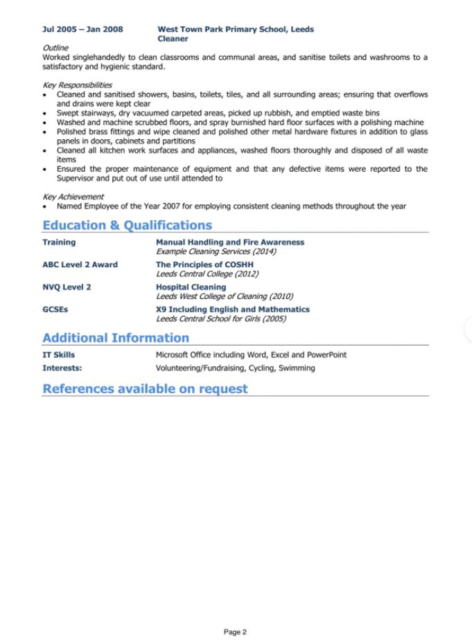 powerful CV page 2