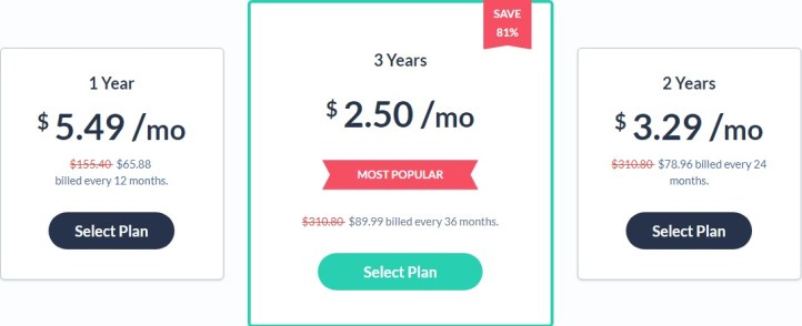 SaferVPN price plan