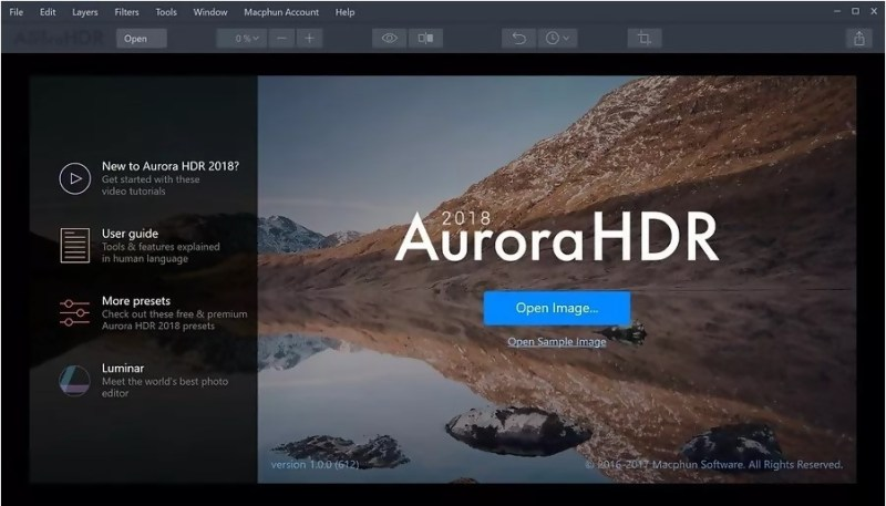 Aurora HDR interface