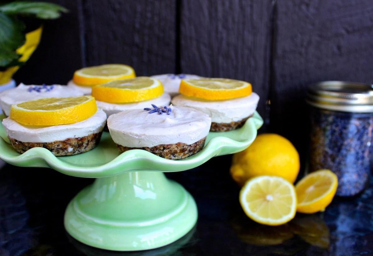 Lemon Lavender Vegan Cheesecakes (Low-Glycemic)
