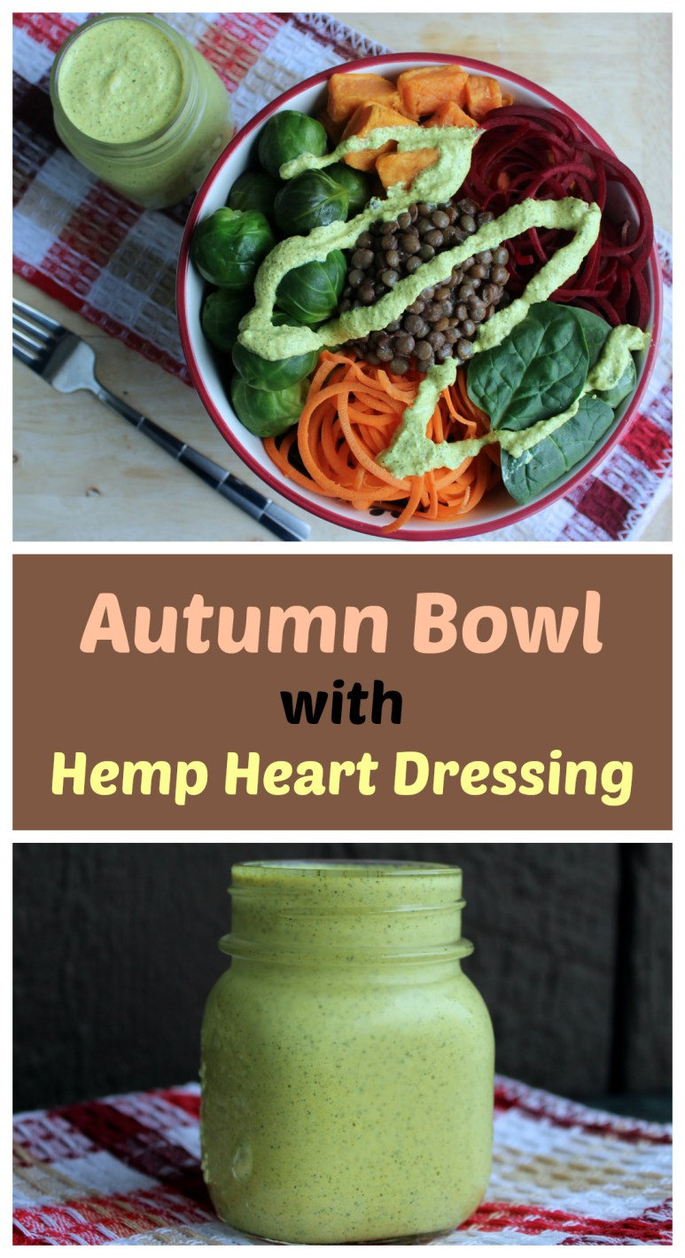 Autumn Vegetable Bowl with Ginger Turmeric Hemp Heart Dressing