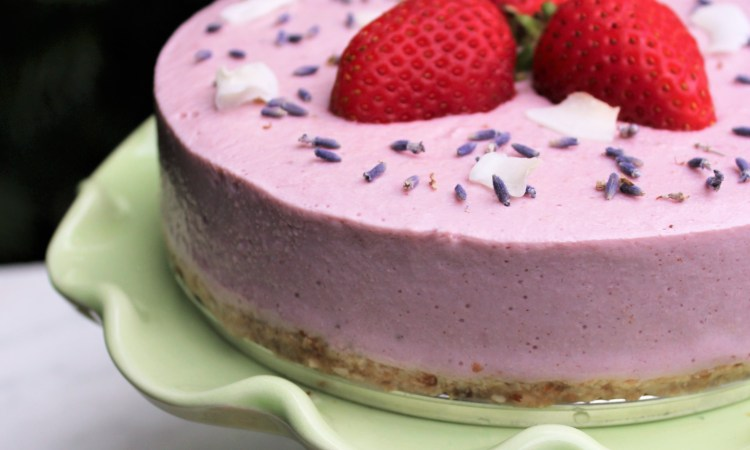 Strawberry Coconut Tofu Ice Cream Cake