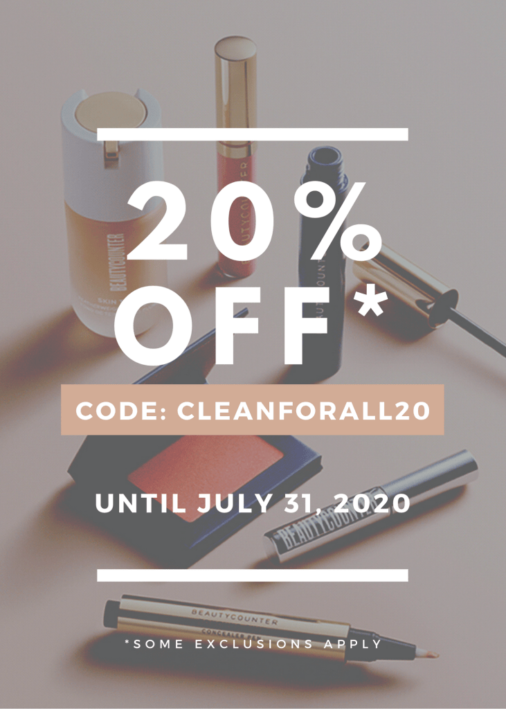 20% off BeautyCounter products for month of July