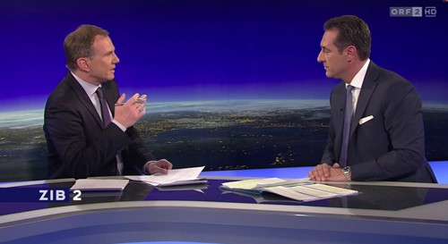 Strache kommentiert den Rausschmiss von Andreas Mölzer in der ZIB 2. Screenshot: ORF