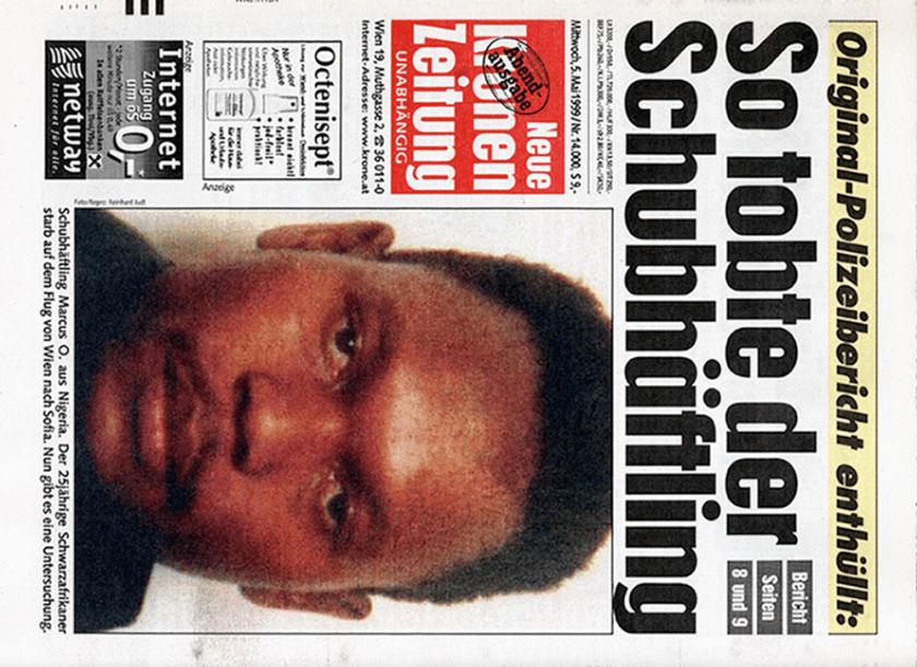 """Cover der Kronenzeitung """"So tobte der Schubhäftling"""". 5. Mai, 1999"""