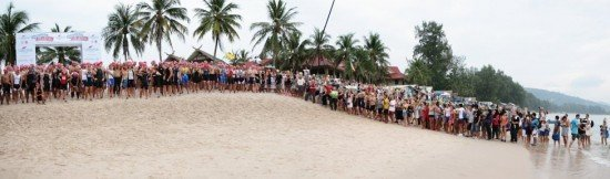 The spectacular beachfront swim start of last year's Laguna Phuket Triathlon.