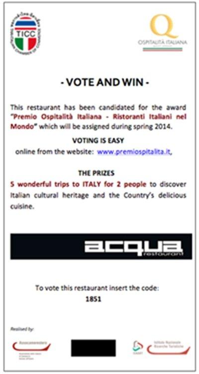 Vote Phuket's Acqua for Italian Hospitality Award