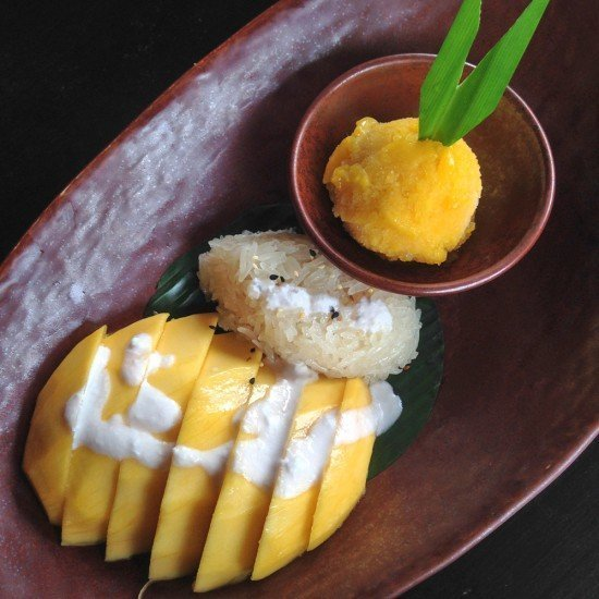 Mango and sticky rice with coconut milk
